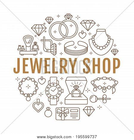 Jewelry shop, diamond accessories banner illustration. Vector line icon of jewels - gold engagement rings, gem earrings, silver necklaces, charms bracelets, brilliants. Fashion store circle template.