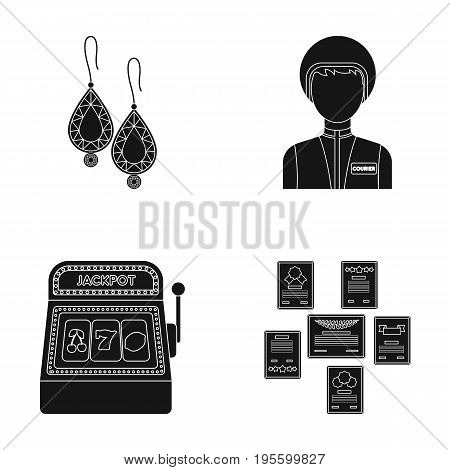 Earrings, woman and other  icon in black style.slot machine, diploma icons in set collection.