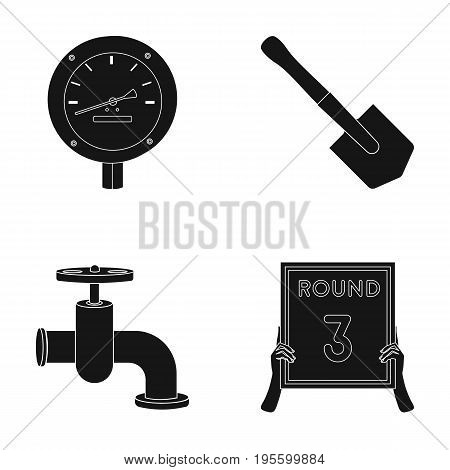 Manometer, Sapper shovel and other  icon in black style. crane, plate third round icons in set collection.