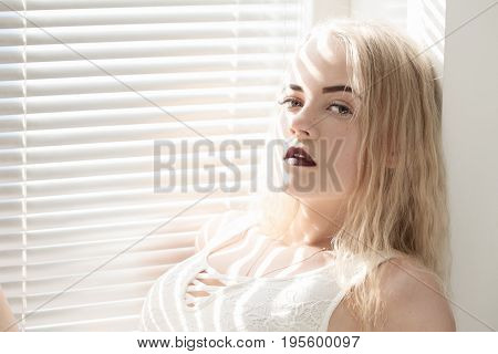 sensual girl sitting on window with blinds in sunlight