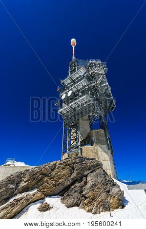 View from Mt. Titlis in Switzerland. The Titlis is a mountainis of the Uri Alps Engelberg Switzerland.