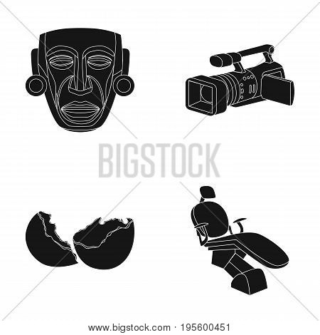 Mask, movie camera and other  icon in black style. egg shell, dentist chair icons in set collection.