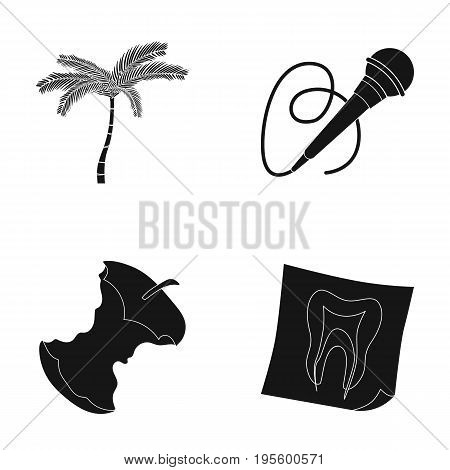 Palm, microphone and other  icon in black style. stub, tooth snapshot icons in set collection.