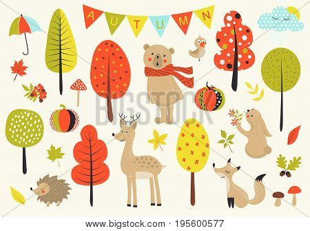 Autumn forest in vector set with cute forest animals, leaves, mushrooms and trees in cartoon style