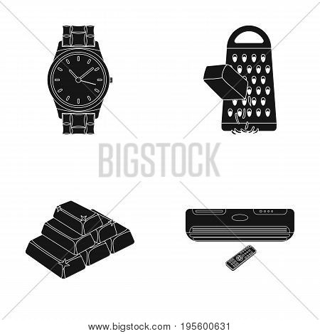 Wrist watch, grater and other  icon in black style. gold, air conditioner icons in set collection.