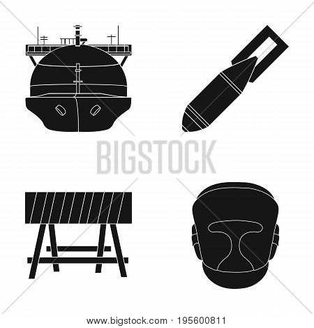 A ship, a bomb and other  icon in black style. a barrier, a boxer's helmet icons in set collection.