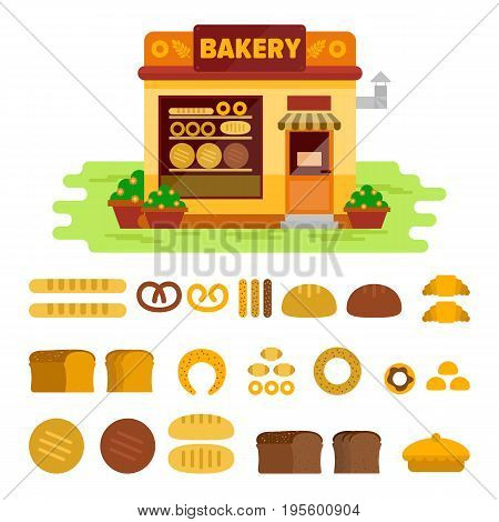 Bakery shop on the street with bread icon set , pastry vector flat illustration. Bun, loaf, bread, croissant, baguette, bagel, various pastries.