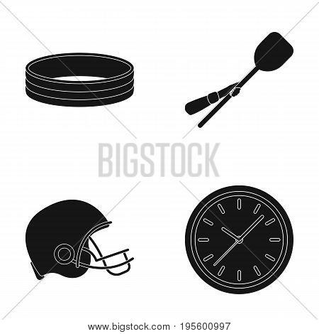 Ring, wooden shovel for pizza and other  icon in black style. protective helmet, watch icons in set collection.