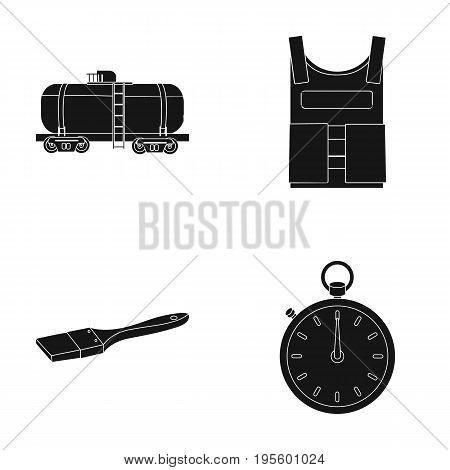 Railway tank, bulletproof vest and other  icon in black style. paintbrush, stopwatch icons in set collection.