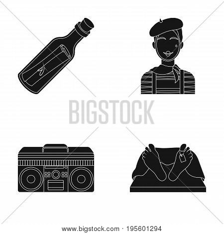 Bottle with a note, Frenchman and other  icon in black style. tape recorder, corpse in the morgue icons in set collection.