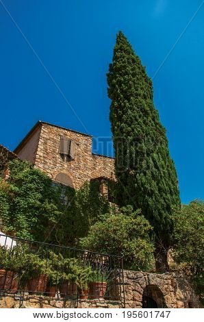 View of stone house, tree and handrail under sunny blue sky at the lovely Les Arcs-sur-Argens hamlet, in the way to Draguignan. Located in the Provence region, Var department, southeastern France