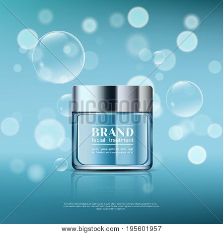 A Beautiful Template For Cosmetic Ads, Realistic 3D Blue Bank On A Light Blue Shiny Background With