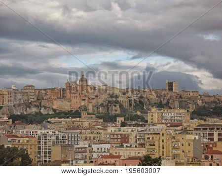 Old town in Cagliari - capital of Sardinia wide angle view. Roofs and houses of biggest city in Sardegna island Italy.
