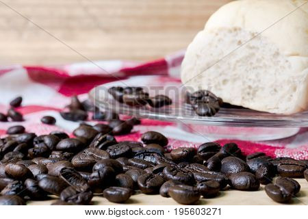 Coffee on grunge wooden background on table