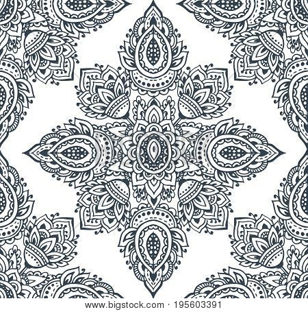Vector seamless pattern with hand drawn henna mehndi floral elements. Beautiful endless background in oriental indian style