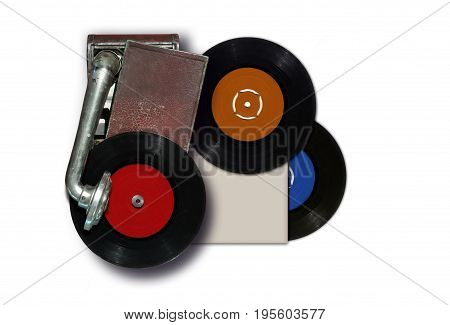 Vintage old record player with vinyl disc