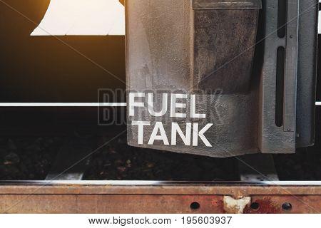 Close up fuel tank at under train.