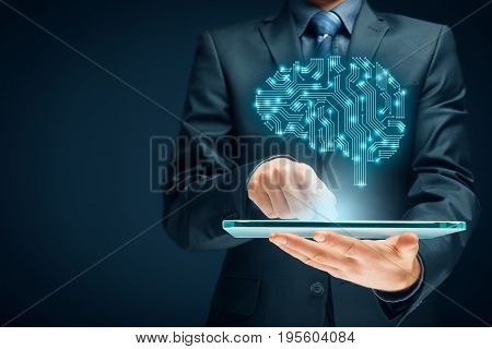 Artificial intelligence (AI), data mining, machine learning, deep learning, neural networks and another modern computer technologies concepts.