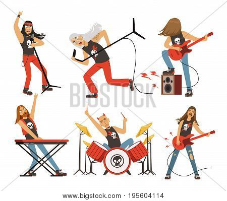 Funny cartoon characters in rock band. Musician in famous pop group. Vector rock group with singer and musical guitarist illustration