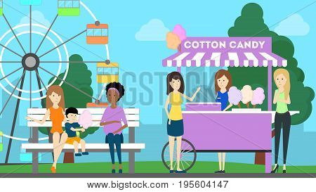 Amusement park illustration. People have fun at the park with wheel and sweets.