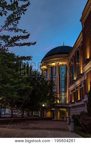 Bowling Green Kentucky USA - June 22 2017: Warren County Justice Center from the side at dusk.