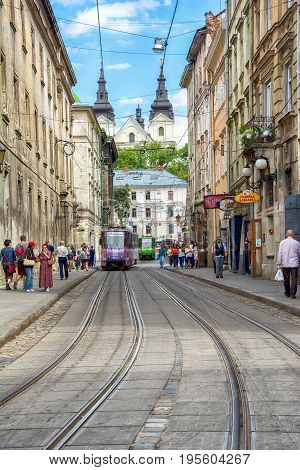 Lviv Ukraine - August 15 2016: Historic center of Lviv on the corner of Market Square