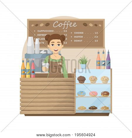 Barista at coffee shop. Woman with hot coffee cup stands behind the storefront with cookies, donuts and muffins. Cappuccino and latte, espresso and sweets.