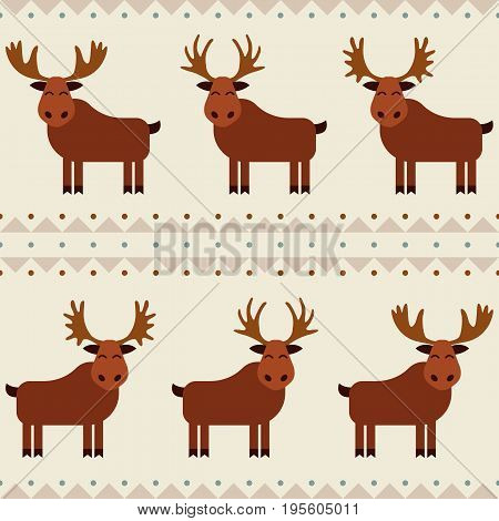 Moose and elk seamless pattern with different horns.