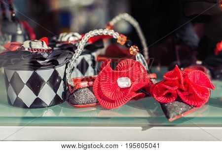 Decorative small nice woman's bags in market