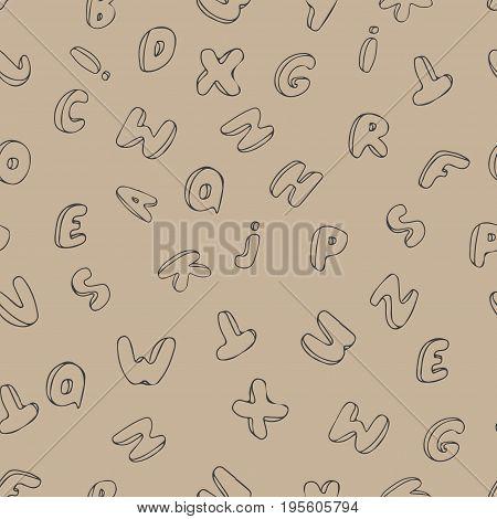 Hand written font. Modern hand lettering grafitti style. Seamless pattern