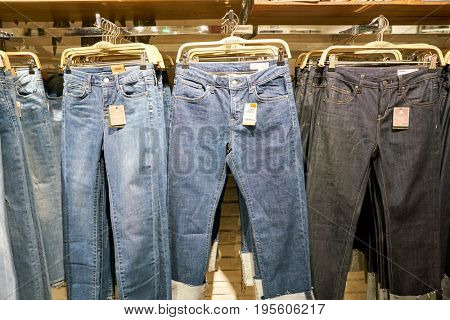 SEOUL, SOUTH KOREA - CIRCA JUNE, 2017: jeans on display at a store in Seoul.