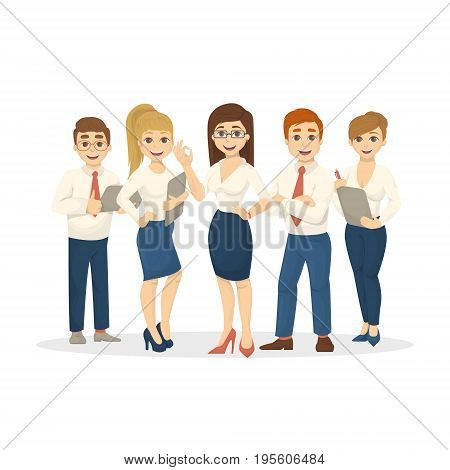 Isolated business team on white background. Women leader and men work together. Leader team.