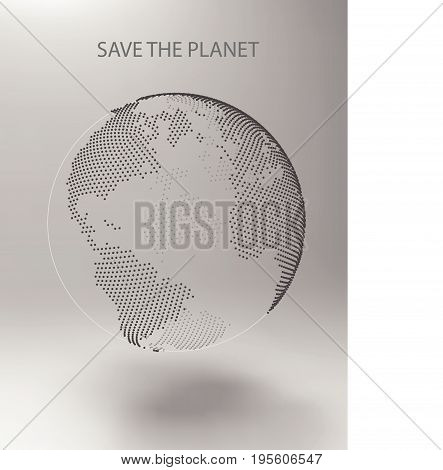 Abstract planet, dots, representing the global, international meaning. Vector Earth. Save the Planet. North America, Africa and Atlantic Ocean