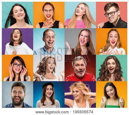 The collage from portraits of young women with smiling facial expression