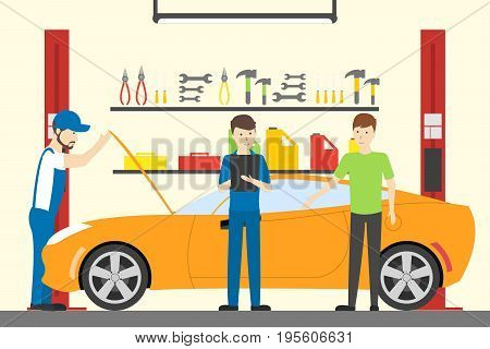 Men working at car service. Car with opened bonnet. Car repair.