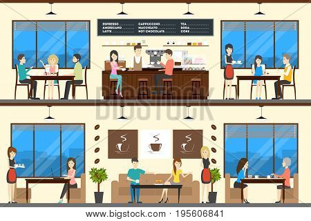 Coffee shop set. People sit and drink coffee at the cafe. Barista makes drinks.