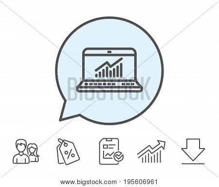 Data Analysis and Statistics line icon. Report graph or Chart sign. Computer data processing symbol. Report, Sale Coupons and Chart line signs. Download, Group icons. Editable stroke. Vector