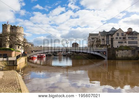 Lendal bridge York UK on station road with view of River Ouse