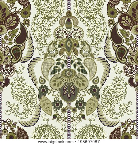 Paisley floral seamless pattern. Indian ornament. Vector decorative flowers and Paisley. Ethnic style. Design for fabrics, cards, decoupage