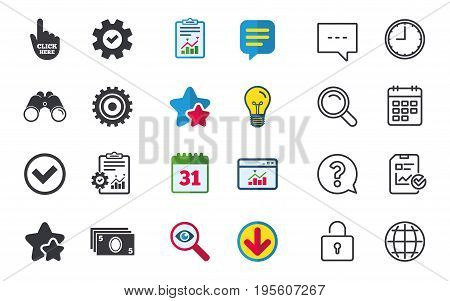 ATM cash machine withdrawal icons. Click here, check PIN number, processing and cash withdrawal symbols. Chat, Report and Calendar signs. Stars, Statistics and Download icons. Vector