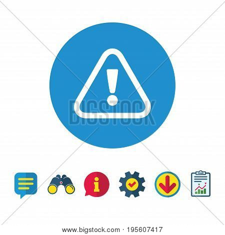 Attention sign icon. Exclamation mark. Hazard warning symbol. Information, Report and Speech bubble signs. Binoculars, Service and Download icons. Vector