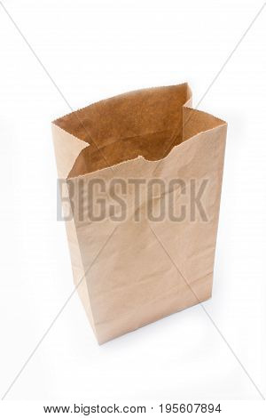 Recycle Paper Bag Isolated On White Background