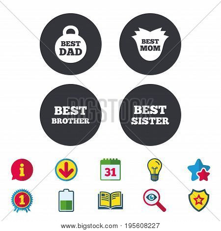 Best mom and dad, brother and sister icons. Weight and flower signs. Award symbols. Calendar, Information and Download signs. Stars, Award and Book icons. Light bulb, Shield and Search. Vector