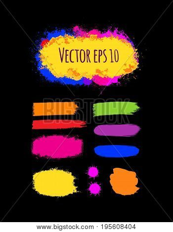 Set of painted grunge banners. Bright colorful ink vector stains isolated on black. Rainbow Colored backgrounds for design. Hand drawn vector illustration on black. Brush strokes vector.
