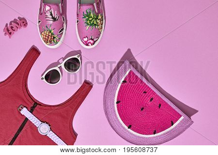 Summer Hipster Girl Accessories Set. Fashion Design. Hot Summer Sunny Vibes. Trendy Sneakers, fashion Sunglasses, Glamor Watermelon Clutch. Creative Bright Sweet Style. Pink Pastel Color.Minimal, Art