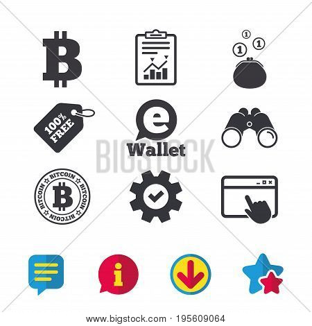 Bitcoin icons. Electronic wallet sign. Cash money symbol. Browser window, Report and Service signs. Binoculars, Information and Download icons. Stars and Chat. Vector