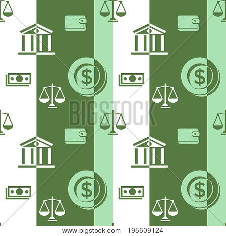 Digital vector green business icons with drawn simple line art info graphic seamless pattern, card calculator coin wallet bank safe balance money, flat style
