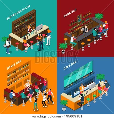 People in bar 2x2 design concept of interiors with racks chairs bartenders and guests isometric vector illustration
