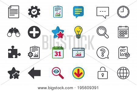 Plus add circle and puzzle piece icons. Document file and back arrow sign symbols. Chat, Report and Calendar signs. Stars, Statistics and Download icons. Question, Clock and Globe. Vector