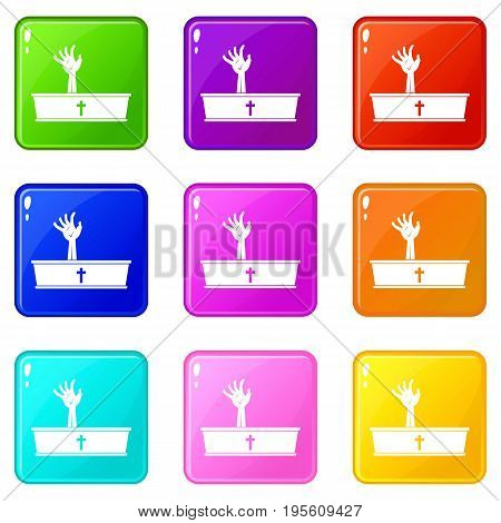Zombie hand coming out of his coffin icons of 9 color set isolated vector illustration